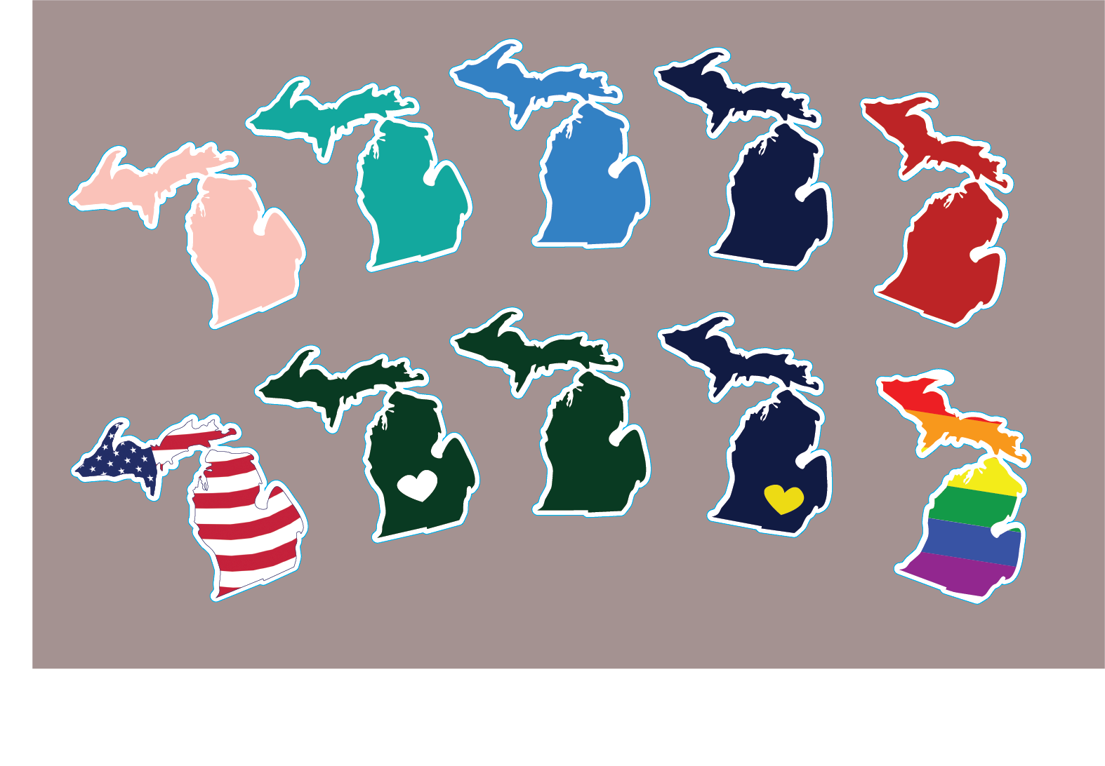 Colorful Michigan Stickers